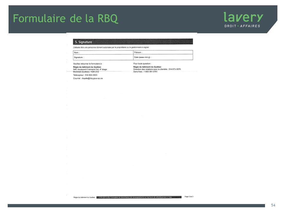 Formulaire de la RBQ 54