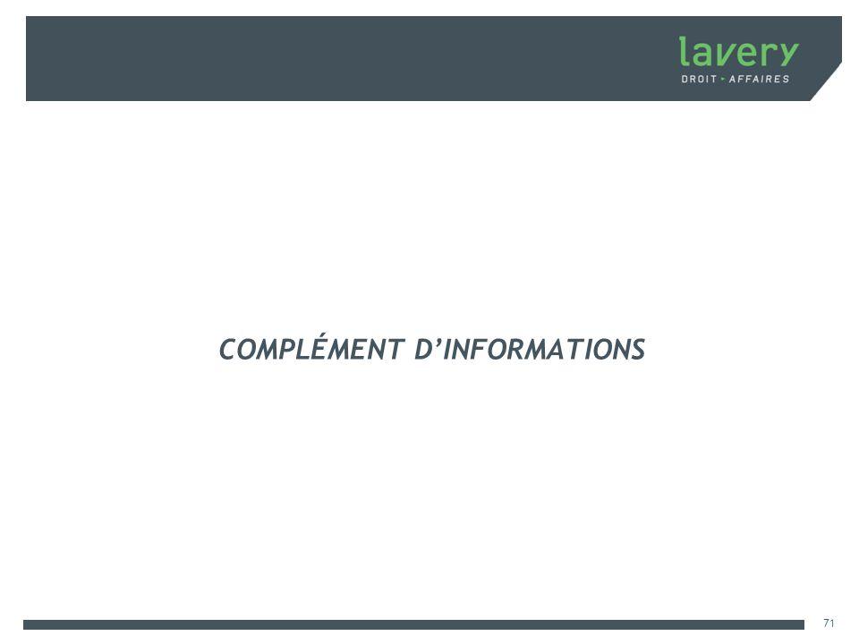 COMPLÉMENT DINFORMATIONS 71