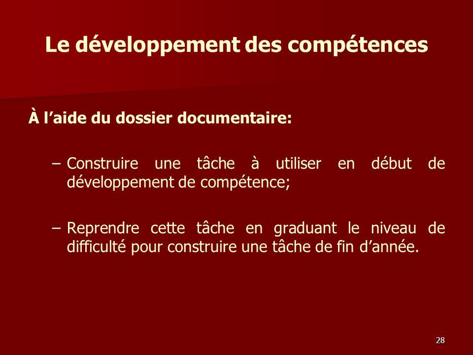 Le développement des compétences À laide du dossier documentaire: – –Construire une tâche à utiliser en début de développement de compétence; – –Reprendre cette tâche en graduant le niveau de difficulté pour construire une tâche de fin dannée.