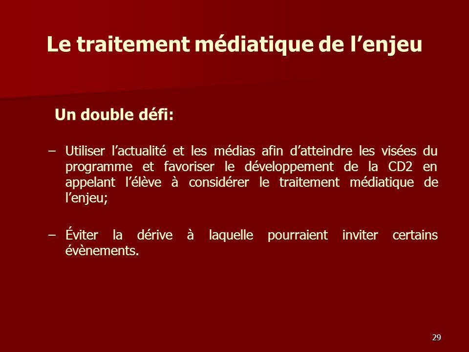 Le traitement médiatique de lenjeu – –Utiliser lactualité et les médias afin datteindre les visées du programme et favoriser le développement de la CD2 en appelant lélève à considérer le traitement médiatique de lenjeu; – –Éviter la dérive à laquelle pourraient inviter certains évènements.