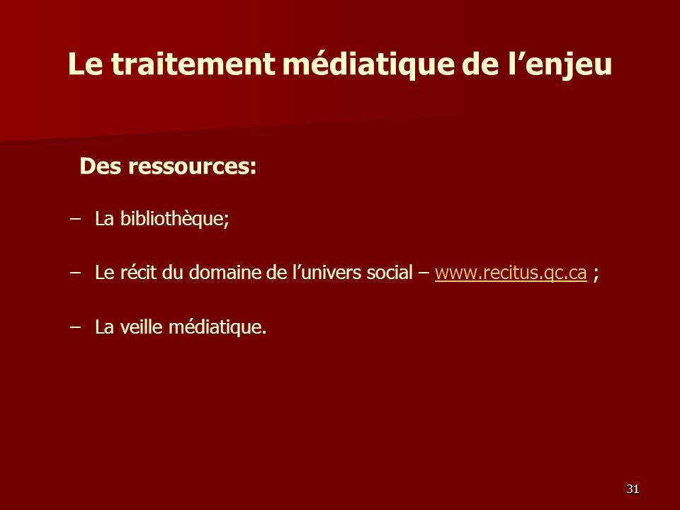 Le traitement médiatique de lenjeu – –La bibliothèque; – –Le récit du domaine de lunivers social – www.recitus.qc.ca ;www.recitus.qc.ca – –La veille médiatique.