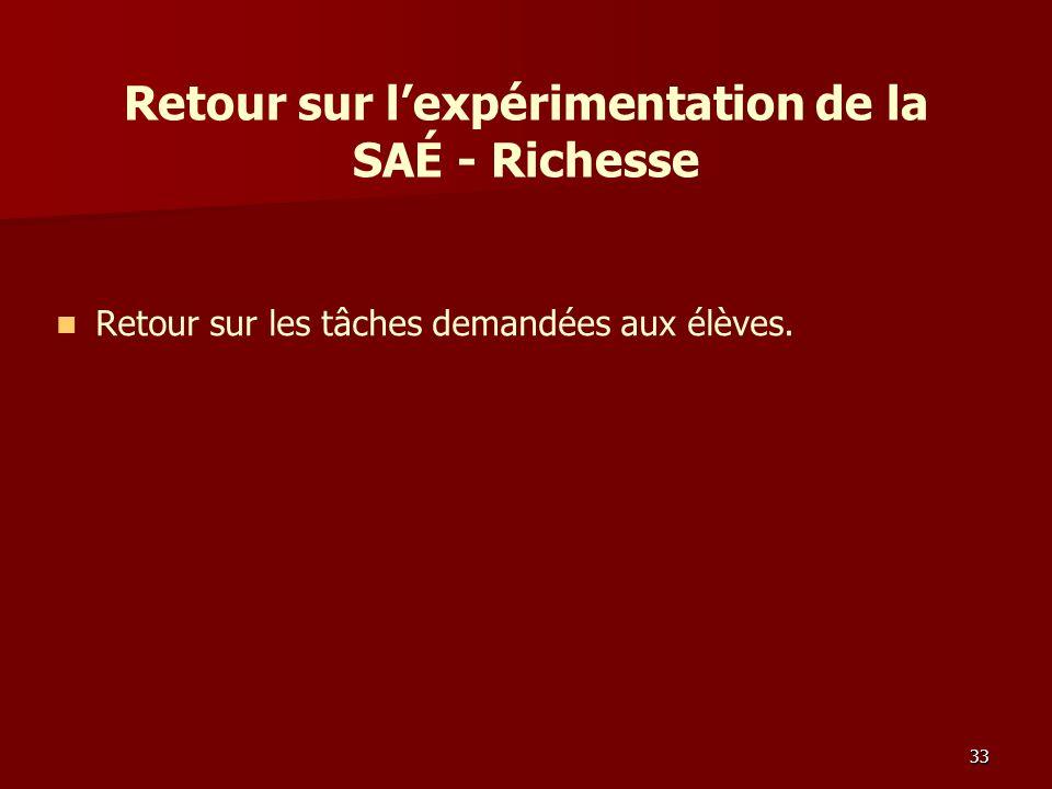 Retour sur lexpérimentation de la SAÉ - Richesse Retour sur les tâches demandées aux élèves. 33