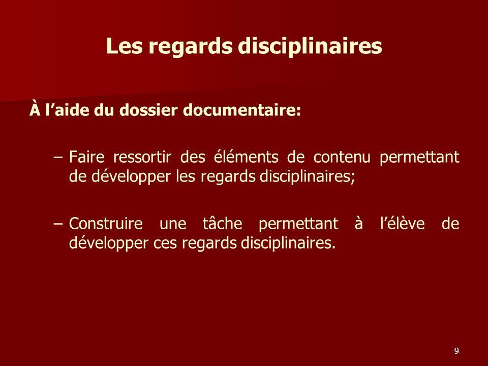 Les regards disciplinaires À laide du dossier documentaire: – –Faire ressortir des éléments de contenu permettant de développer les regards disciplinaires; – –Construire une tâche permettant à lélève de développer ces regards disciplinaires.