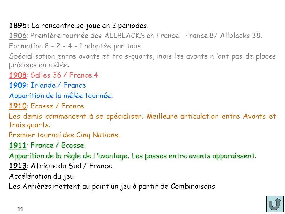 11 1895: La rencontre se joue en 2 périodes. 1906: Première tournée des ALLBLACKS en France. France 8/ Allblacks 38. Formation 8 - 2 - 4 - 1 adoptée p