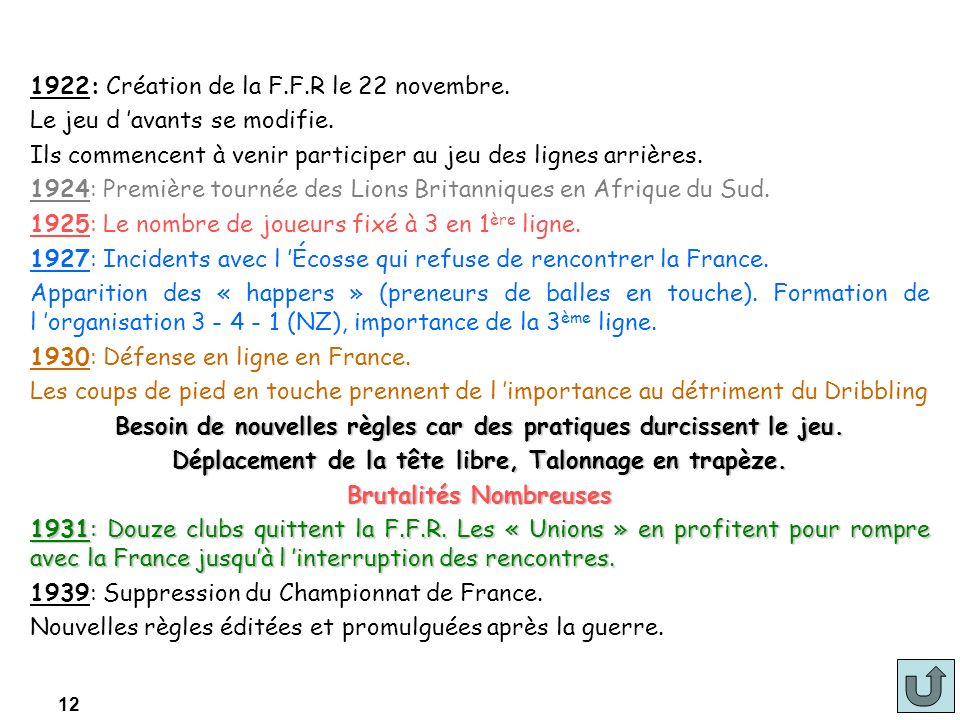 12 1922: Création de la F.F.R le 22 novembre. Le jeu d avants se modifie. Ils commencent à venir participer au jeu des lignes arrières. 1924: Première