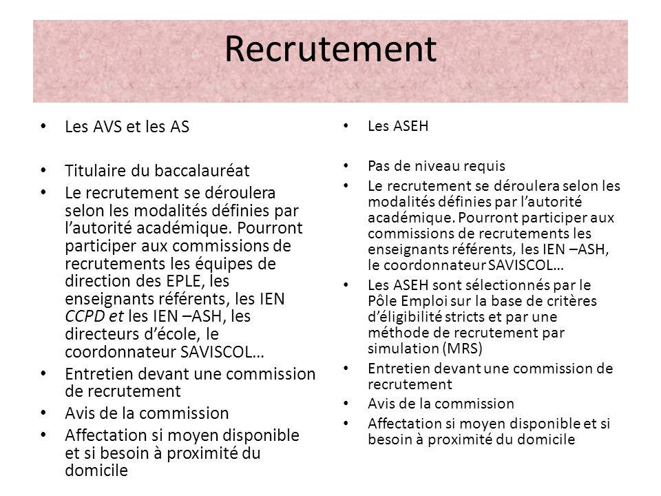 Recrutement Les AVS et les AS Titulaire du baccalauréat Le recrutement se déroulera selon les modalités définies par lautorité académique. Pourront pa