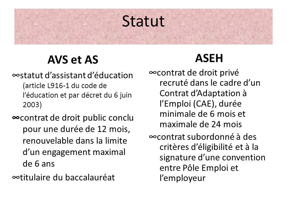 Statut AVS et AS statut dassistant déducation (article L916-1 du code de léducation et par décret du 6 juin 2003) contrat de droit public conclu pour