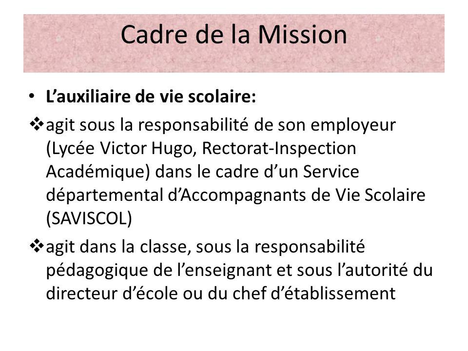 Cadre de la Mission Lauxiliaire de vie scolaire: agit sous la responsabilité de son employeur (Lycée Victor Hugo, Rectorat-Inspection Académique) dans