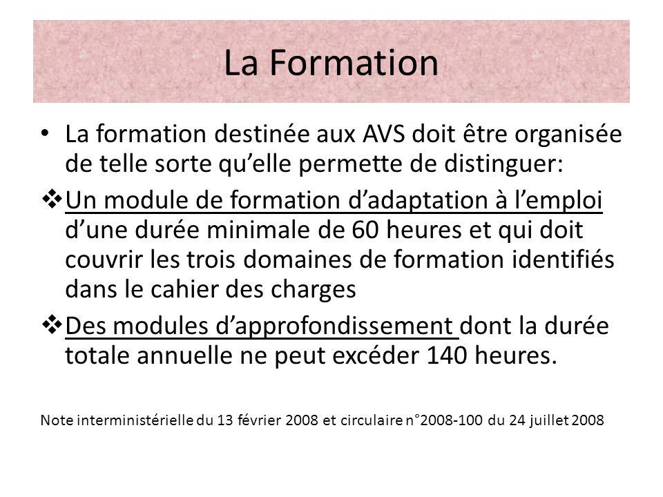 La Formation La formation destinée aux AVS doit être organisée de telle sorte quelle permette de distinguer: Un module de formation dadaptation à lemp