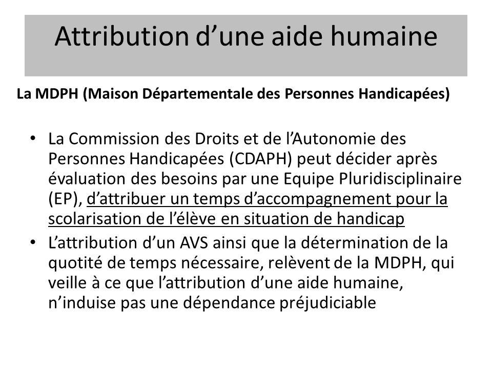 Attribution dune aide humaine La Commission des Droits et de lAutonomie des Personnes Handicapées (CDAPH) peut décider après évaluation des besoins pa
