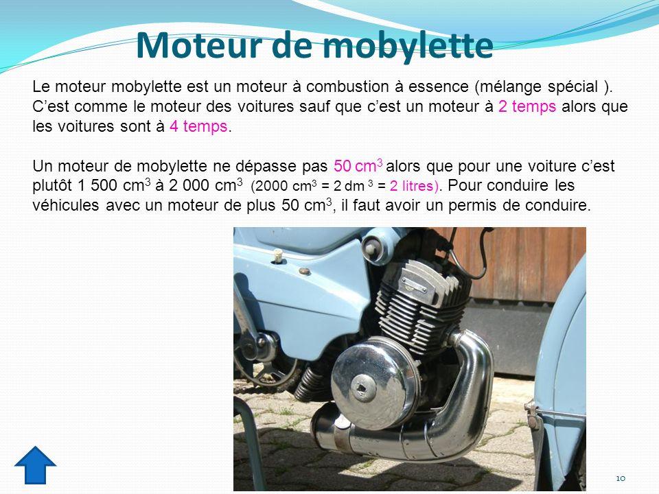 Moteur de mobylette Le moteur mobylette est un moteur à combustion à essence (mélange spécial ). Cest comme le moteur des voitures sauf que cest un mo