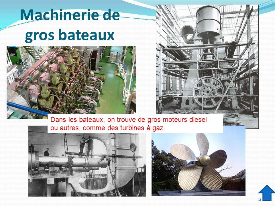 Machinerie de gros bateaux 11 Dans les bateaux, on trouve de gros moteurs diesel ou autres, comme des turbines à gaz.
