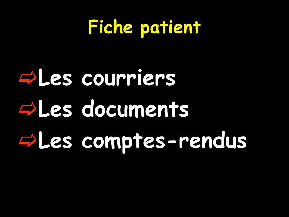 Fiche patient Les courriers Les documents Les comptes-rendus