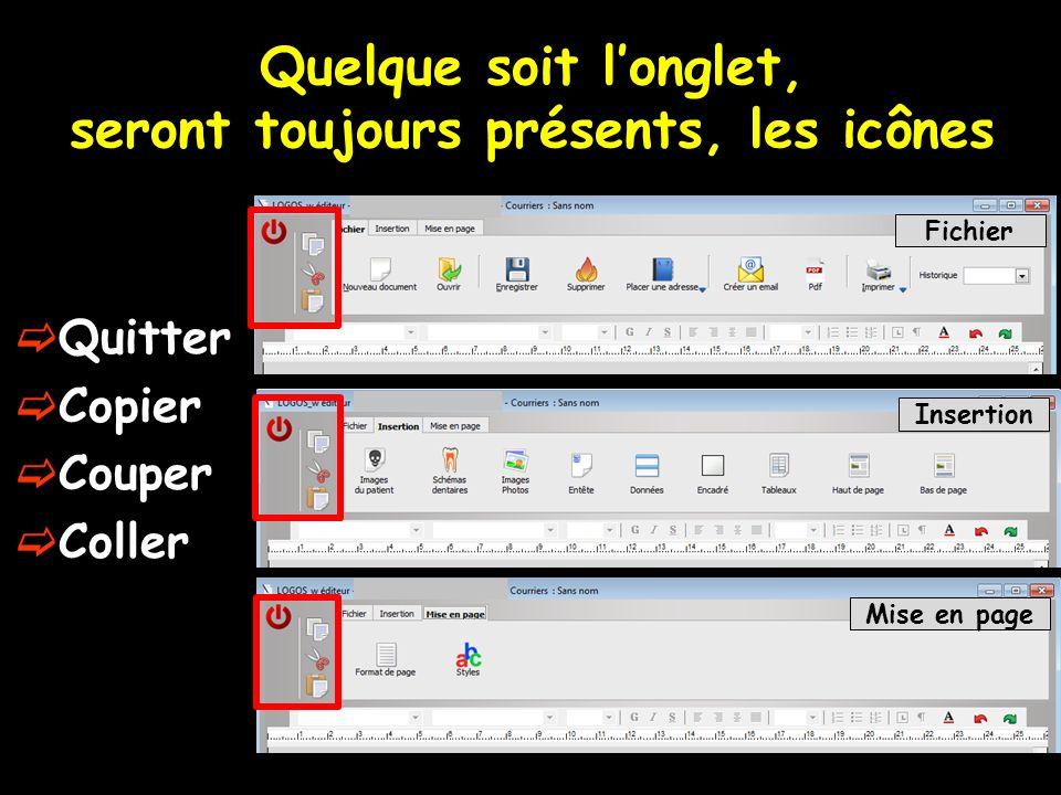 Quelque soit longlet, seront toujours présents, les icônes Fichier Insertion Mise en page Quitter Copier Couper Coller