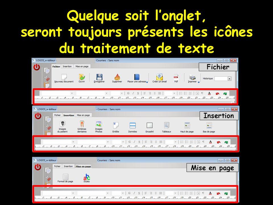 Quelque soit longlet, seront toujours présents les icônes du traitement de texte Fichier Insertion Mise en page