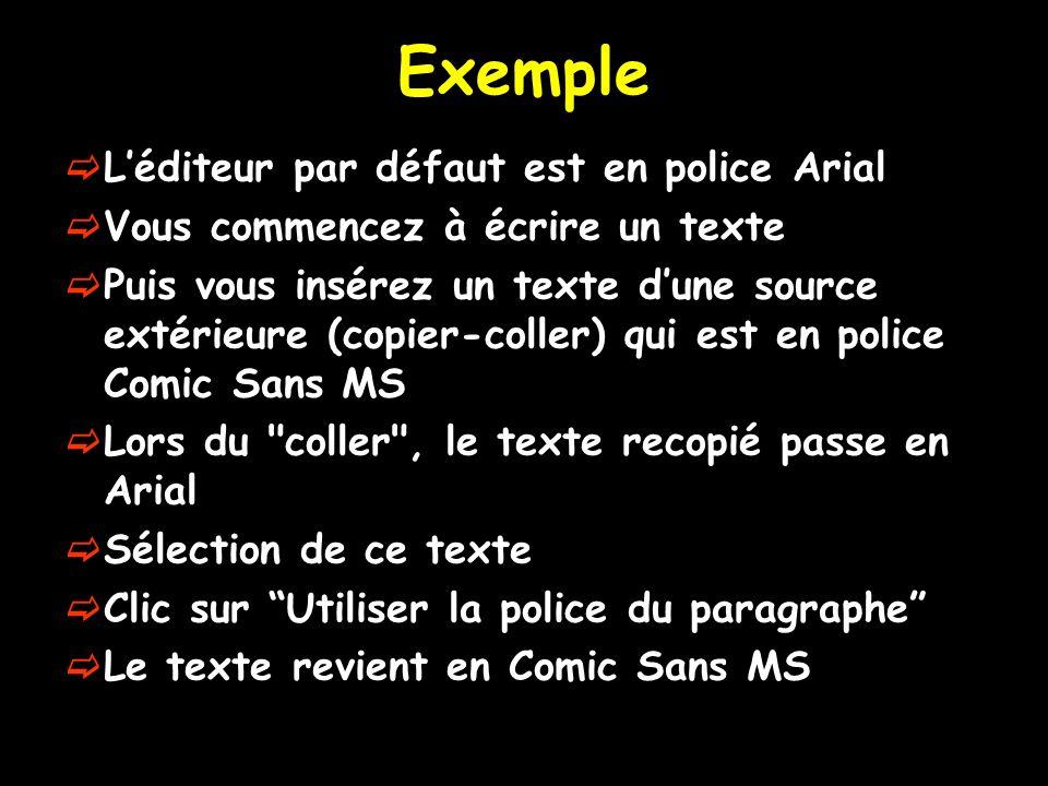 Exemple Léditeur par défaut est en police Arial Vous commencez à écrire un texte Puis vous insérez un texte dune source extérieure (copier-coller) qui