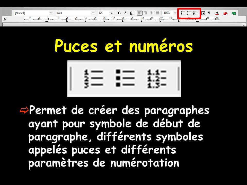 Puces et numéros Permet de créer des paragraphes ayant pour symbole de début de paragraphe, différents symboles appelés puces et différents paramètres