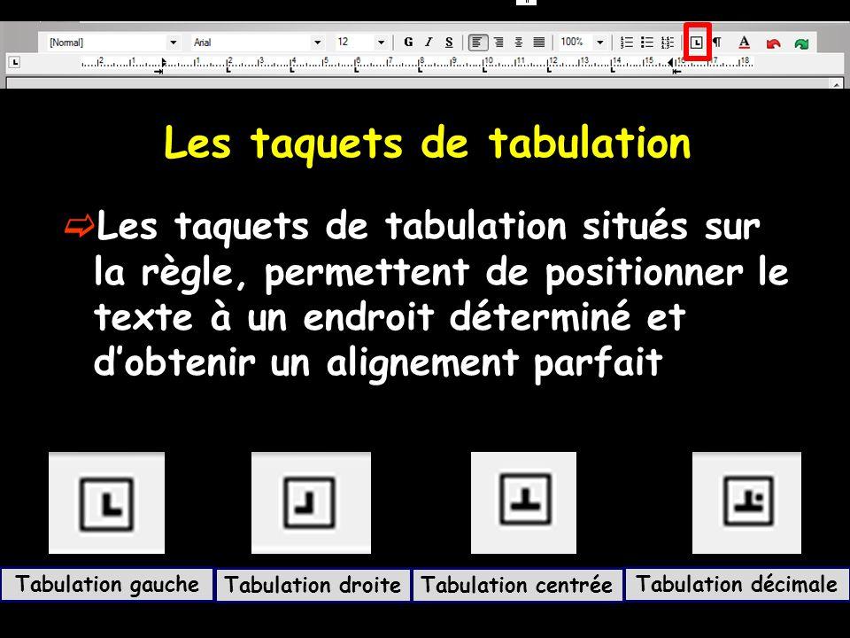 Les taquets de tabulation Les taquets de tabulation situés sur la règle, permettent de positionner le texte à un endroit déterminé et dobtenir un alig