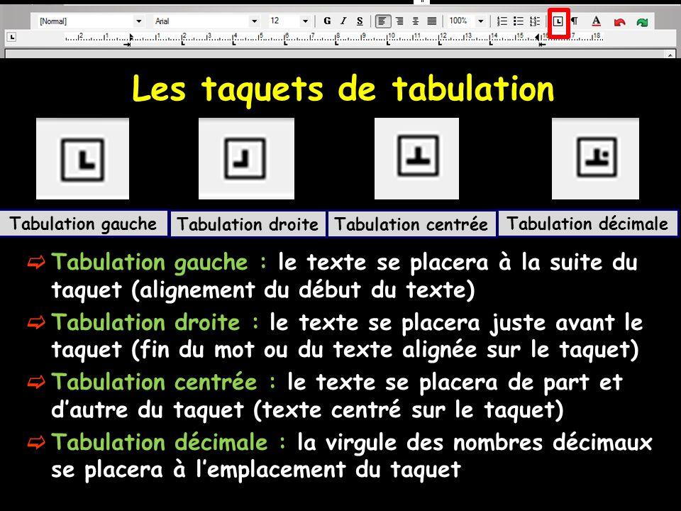 Les taquets de tabulation Tabulation gauche : le texte se placera à la suite du taquet (alignement du début du texte) Tabulation droite : le texte se