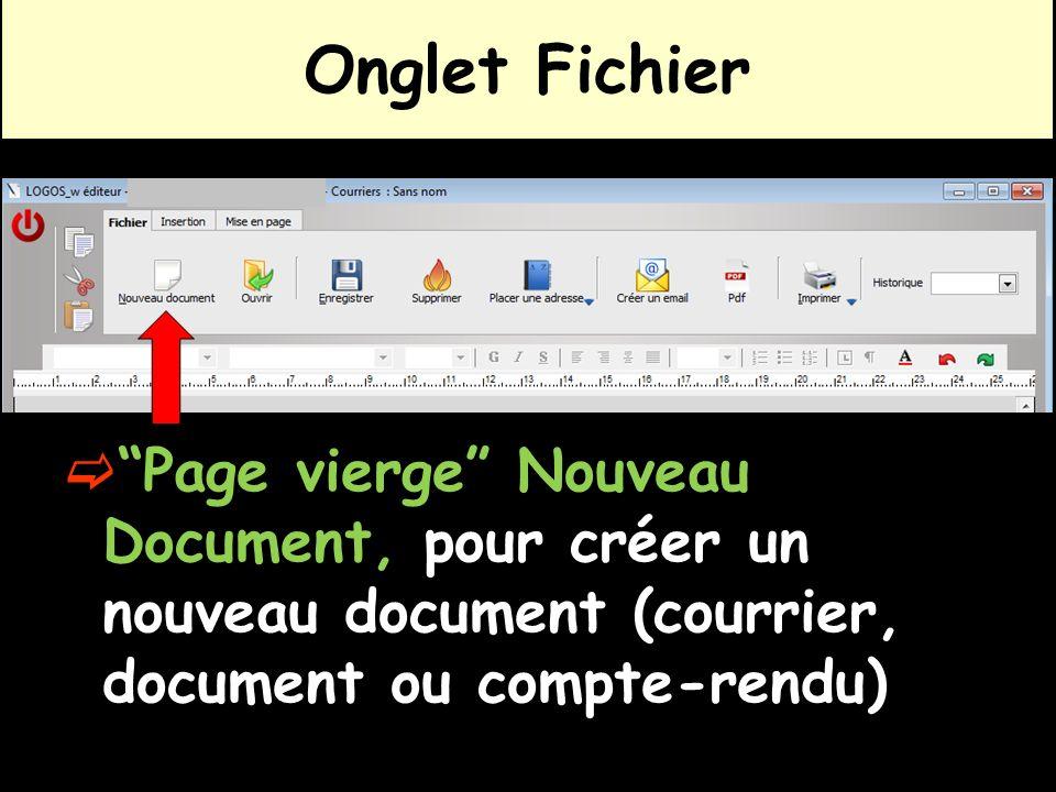 Page vierge Nouveau Document, pour créer un nouveau document (courrier, document ou compte-rendu) Onglet Fichier