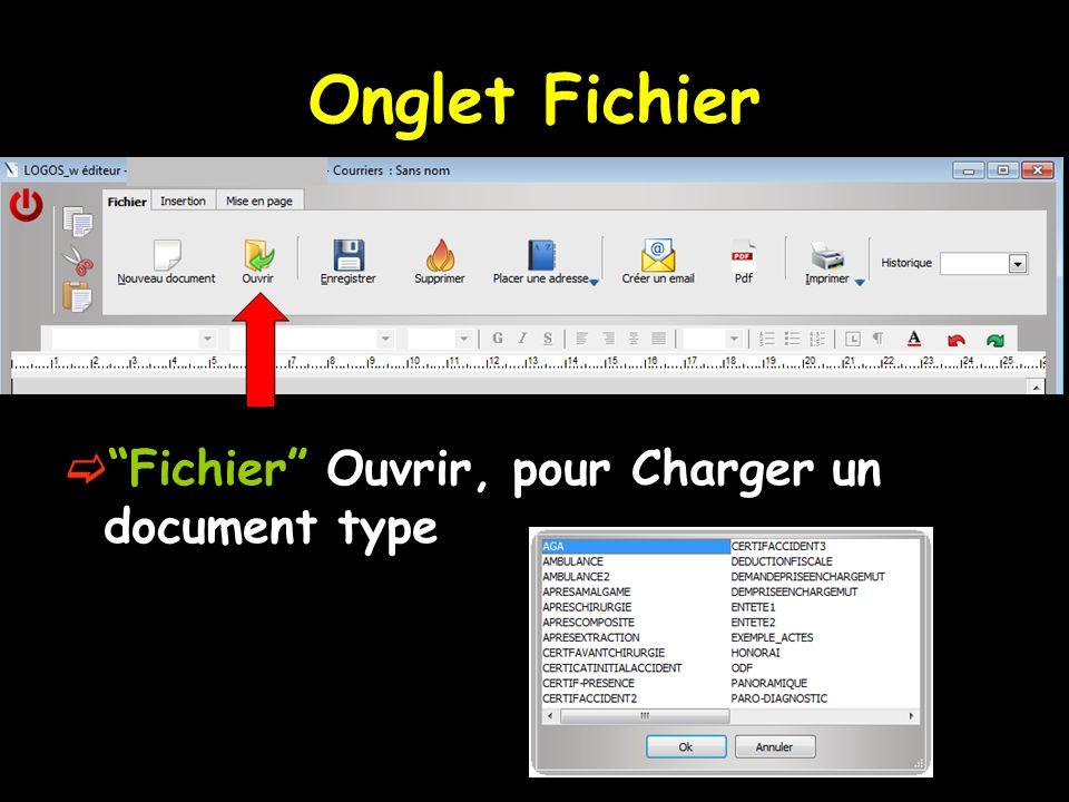 Fichier Ouvrir, pour Charger un document type Onglet Fichier