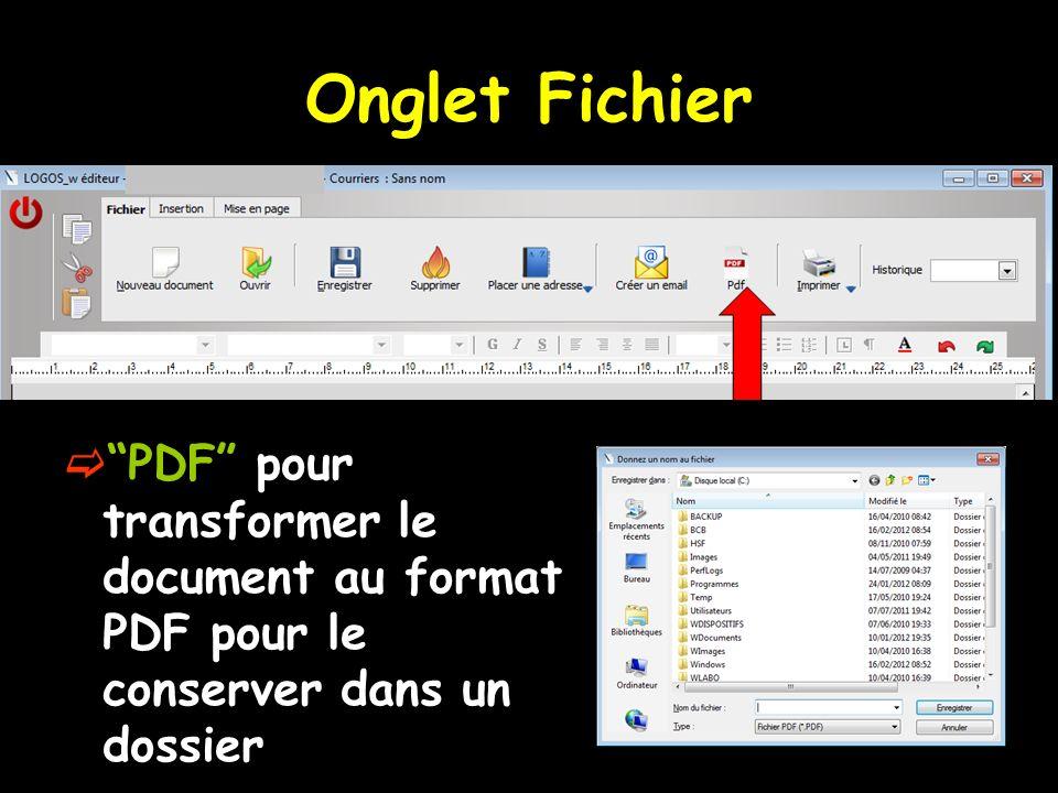 PDF pour transformer le document au format PDF pour le conserver dans un dossier Onglet Fichier