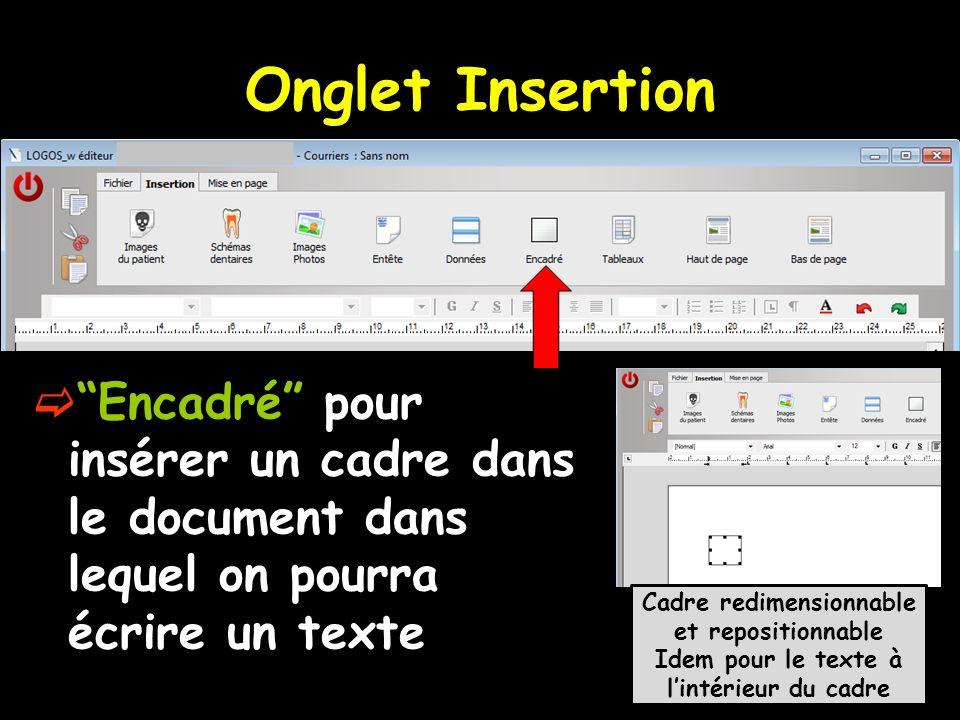 Onglet Insertion Encadré pour insérer un cadre dans le document dans lequel on pourra écrire un texte Cadre redimensionnable et repositionnable Idem p