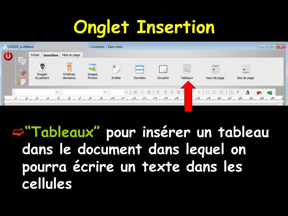 Onglet Insertion Tableaux pour insérer un tableau dans le document dans lequel on pourra écrire un texte dans les cellules