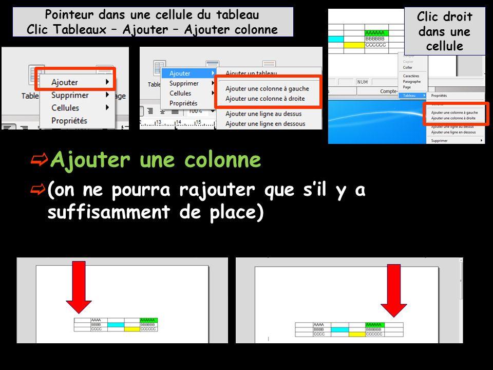 Ajouter une colonne (on ne pourra rajouter que sil y a suffisamment de place) Pointeur dans une cellule du tableau Clic Tableaux – Ajouter – Ajouter c