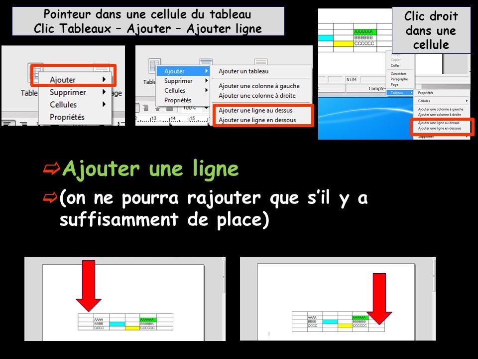 Ajouter une ligne (on ne pourra rajouter que sil y a suffisamment de place) Pointeur dans une cellule du tableau Clic Tableaux – Ajouter – Ajouter lig