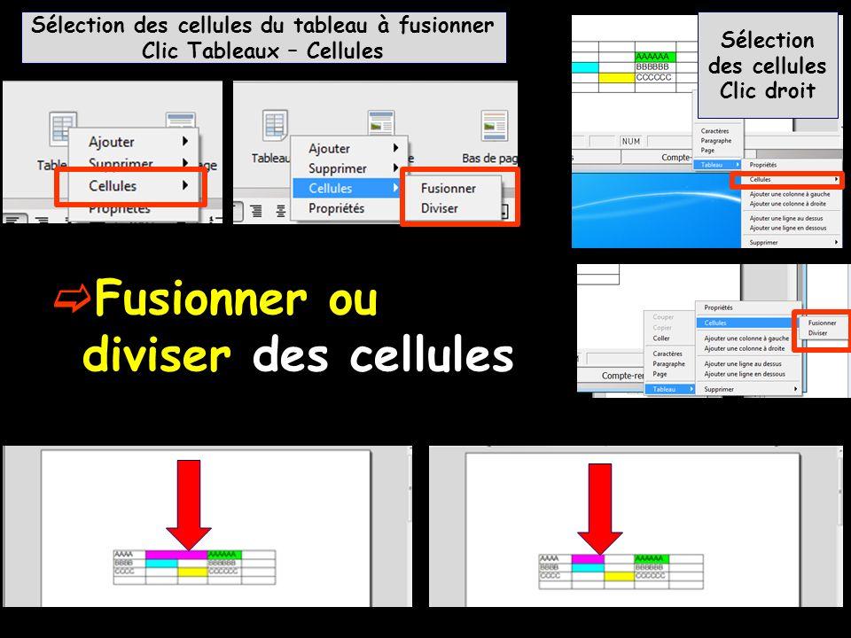 Fusionner ou diviser des cellules Sélection des cellules du tableau à fusionner Clic Tableaux – Cellules Sélection des cellules Clic droit