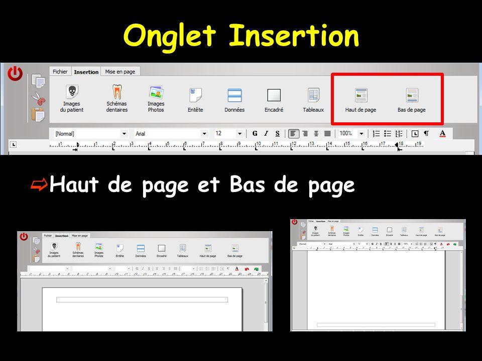Haut de page et Bas de page Onglet Insertion
