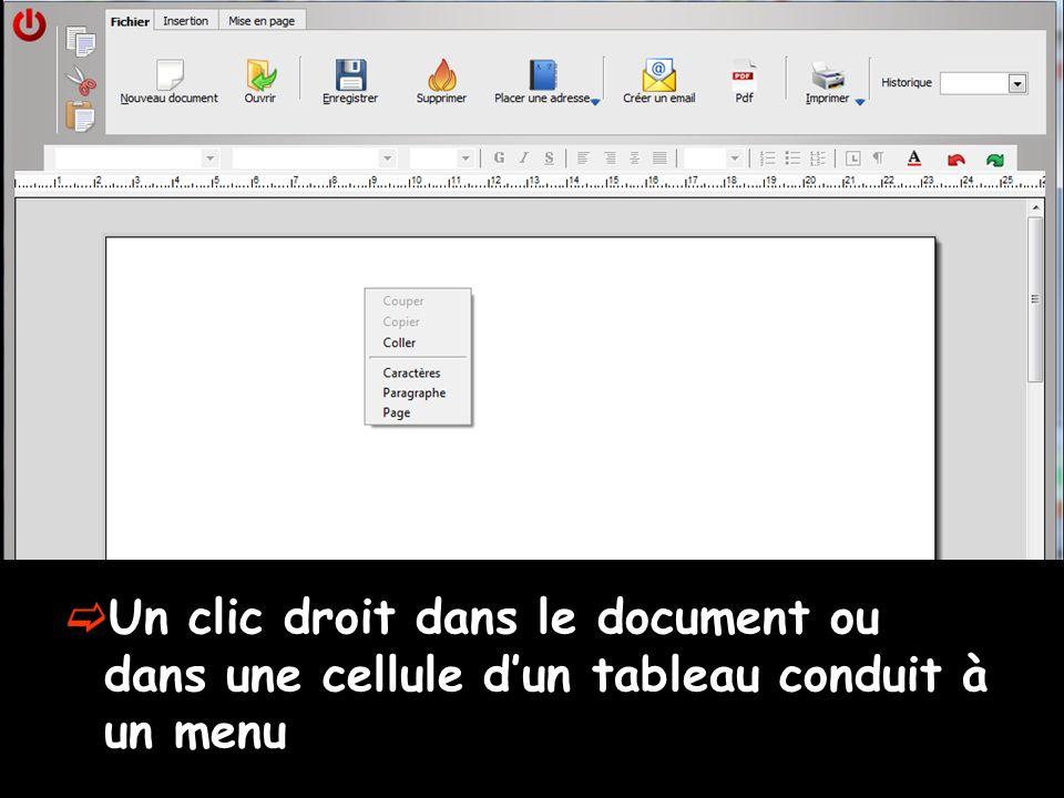 Un clic droit dans le document ou dans une cellule dun tableau conduit à un menu