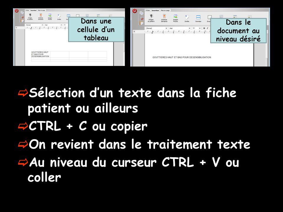 Sélection dun texte dans la fiche patient ou ailleurs CTRL + C ou copier On revient dans le traitement texte Au niveau du curseur CTRL + V ou coller D
