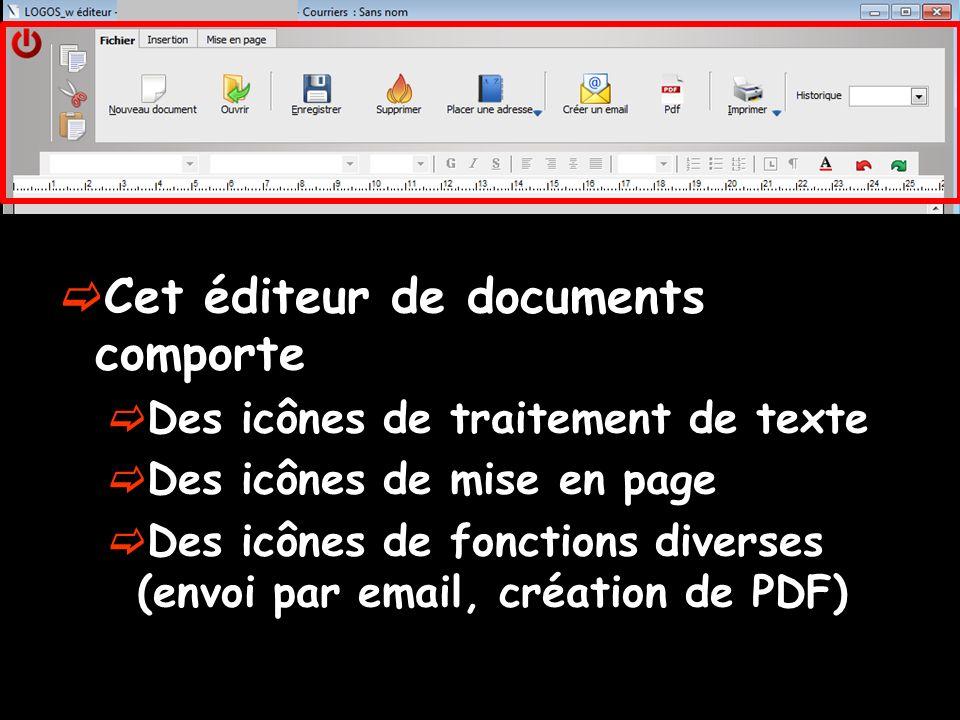 Cet éditeur de documents comporte Des icônes de traitement de texte Des icônes de mise en page Des icônes de fonctions diverses (envoi par email, créa