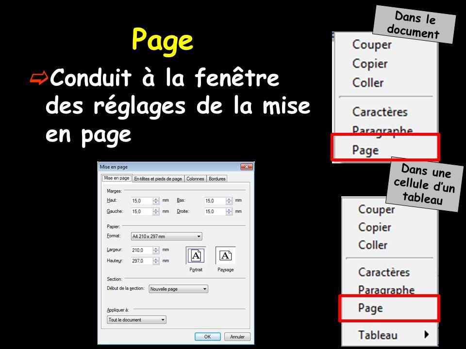 Conduit à la fenêtre des réglages de la mise en page Dans le document Dans une cellule dun tableau Page