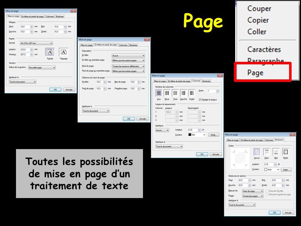 Toutes les possibilités de mise en page dun traitement de texte