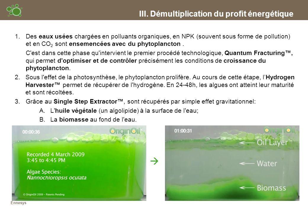 III. Démultiplication du profit énergétique Ennesys 1.Des eaux usées chargées en polluants organiques, en NPK (souvent sous forme de pollution) et en