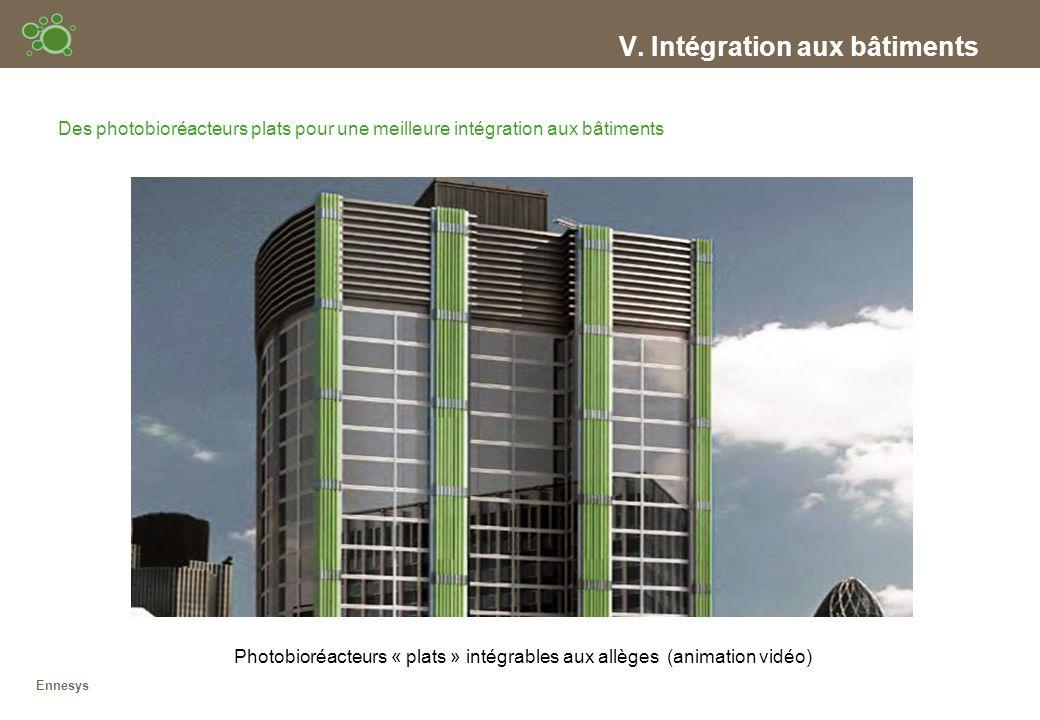 V. Intégration aux bâtiments Des photobioréacteurs plats pour une meilleure intégration aux bâtiments Photobioréacteurs « plats » intégrables aux allè