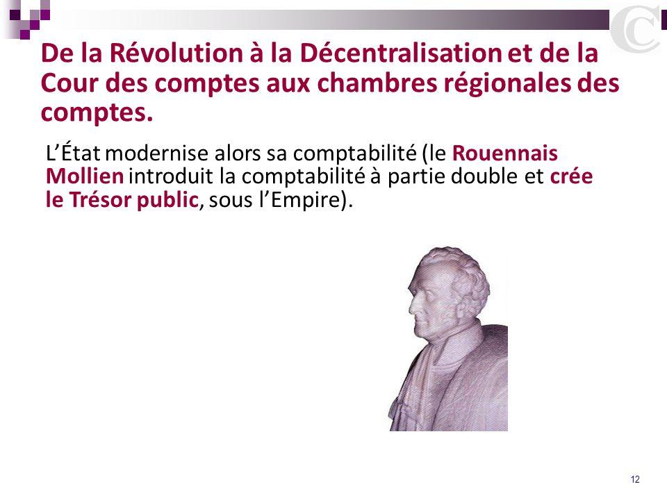 12 De la Révolution à la Décentralisation et de la Cour des comptes aux chambres régionales des comptes. LÉtat modernise alors sa comptabilité (le Rou