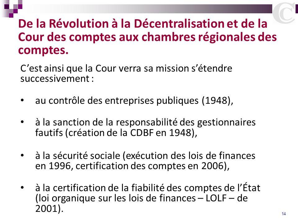 14 De la Révolution à la Décentralisation et de la Cour des comptes aux chambres régionales des comptes. Cest ainsi que la Cour verra sa mission séten
