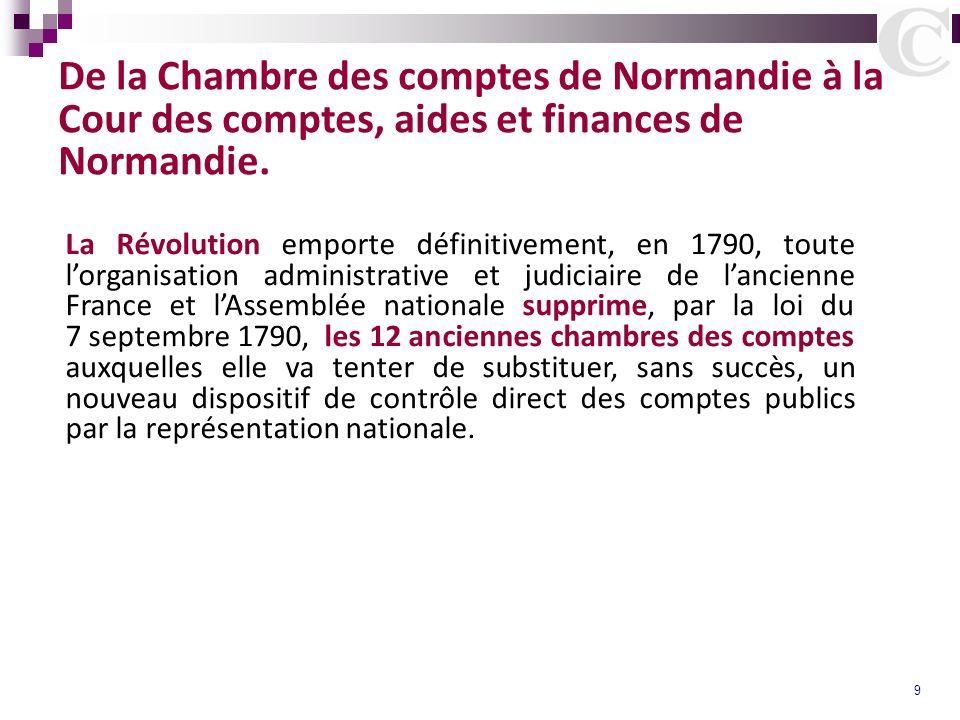 9 De la Chambre des comptes de Normandie à la Cour des comptes, aides et finances de Normandie. La Révolution emporte définitivement, en 1790, toute l