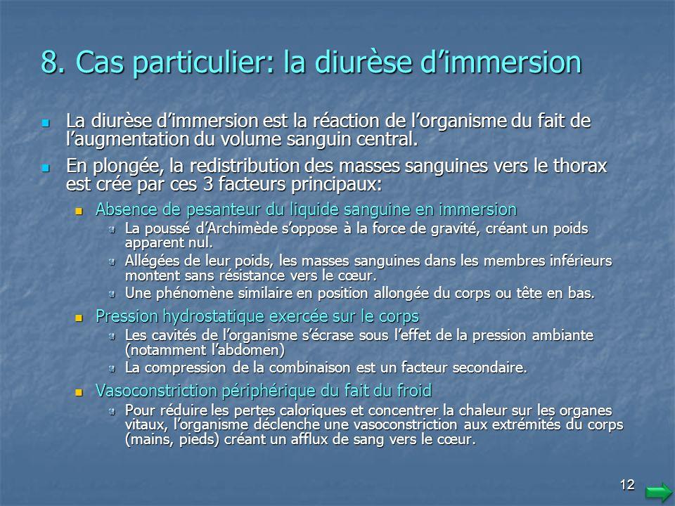 11 7. Risques liés aux conséquences dune déshydratation Augmentation de la viscosité du sang et diminution des échanges et du transport des gaz Augmen