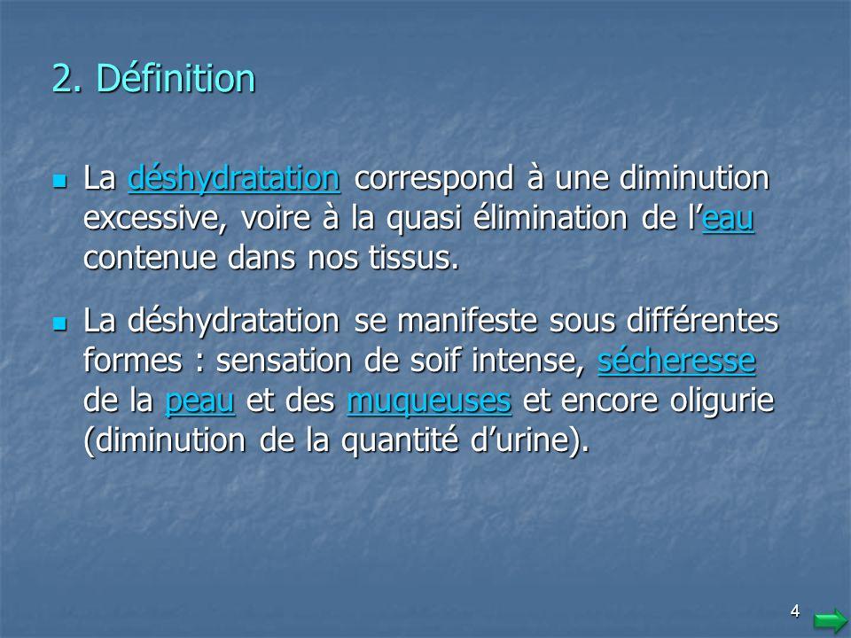 3 1. Introduction Les deux tiers de l'organisme sont composés d'eau. Cela signifie que pour un poids d'environ 70 kilos, le corps humain comporte envi