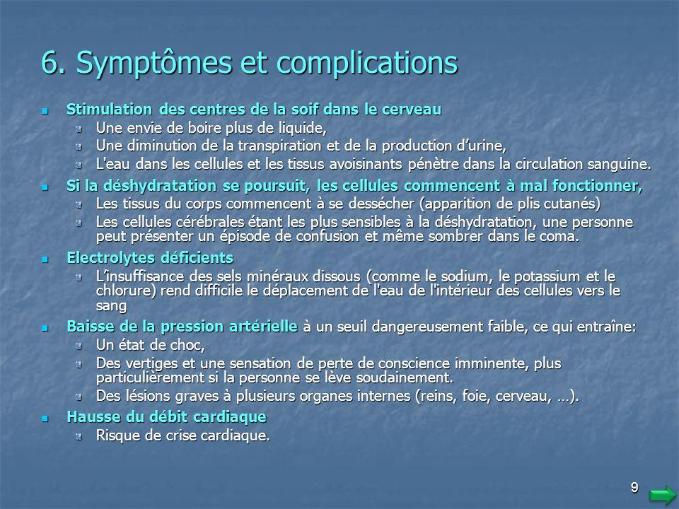 8 5. Causes (autres) Certains troubles de santé peuvent entraîner une déperdition hydrique extrême Certains troubles de santé peuvent entraîner une dé