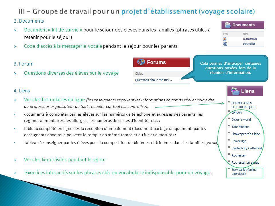 2. Documents Document « kit de survie » pour le séjour des élèves dans les familles (phrases utiles à retenir pour le séjour) Code daccès à la message