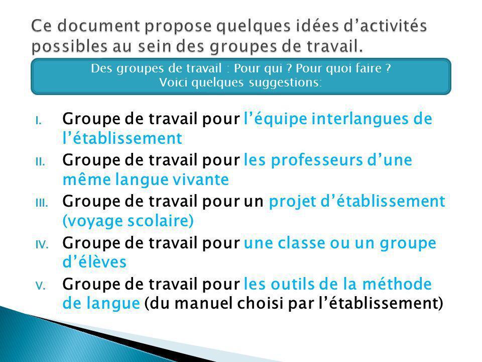 I.Groupe de travail pour léquipe interlangues de létablissement II.