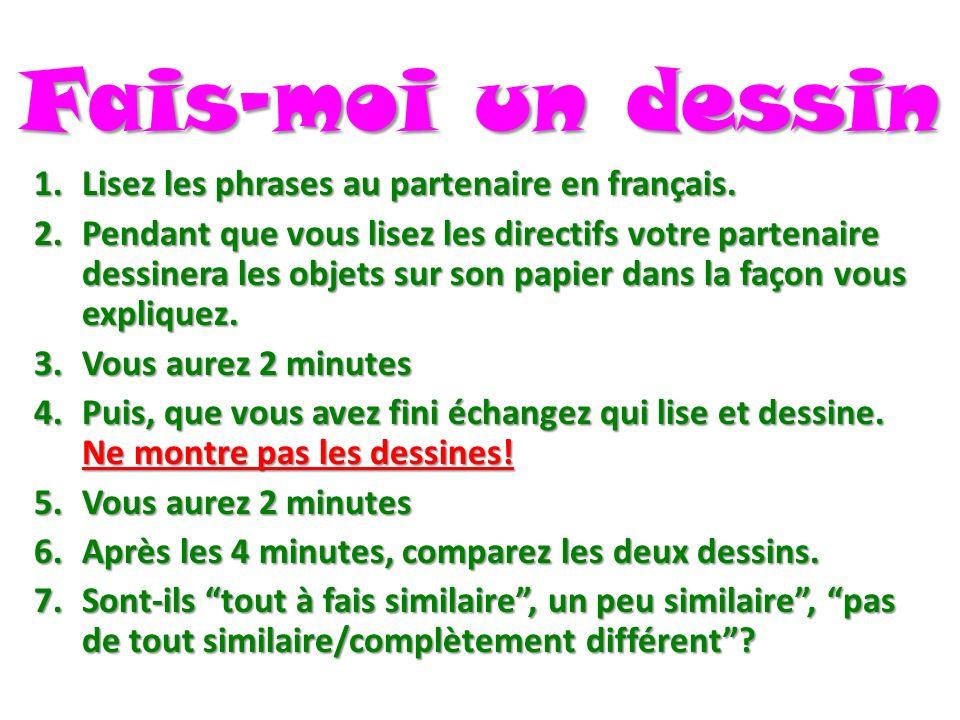Fais-moi un dessin 1.Lisez les phrases au partenaire en français.