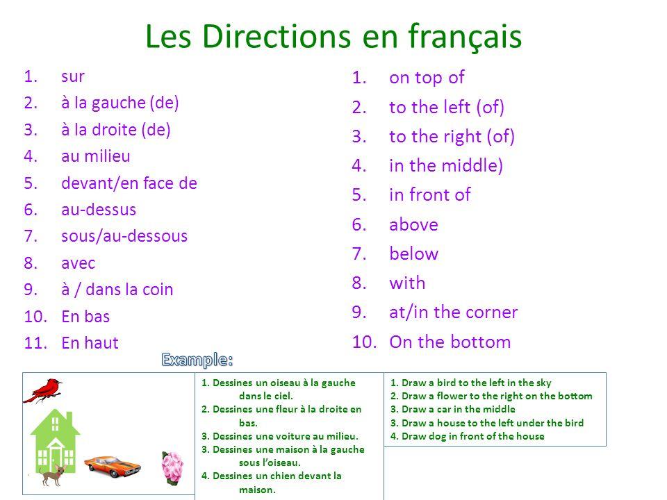 Les Directions en français 1.sur 2.à la gauche (de) 3.à la droite (de) 4.au milieu 5.devant/en face de 6.au-dessus 7.sous/au-dessous 8.avec 9.à / dans la coin 10.En bas 11.En haut 1.on top of 2.to the left (of) 3.to the right (of) 4.in the middle) 5.in front of 6.above 7.below 8.with 9.at/in the corner 10.On the bottom 1.