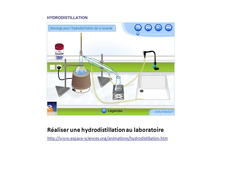 Réaliser une hydrodistillation au laboratoire http://www.espace-sciences.org/animations/hydrodistillation.htm